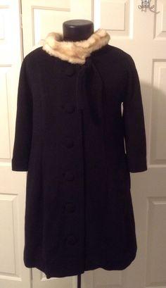 elevenses ANTHROPOLOGIE Coat Wool Angora Trapeze 12 Faux Fur Collar 3/4 Sleeve #Anthropologie #BasicCoat