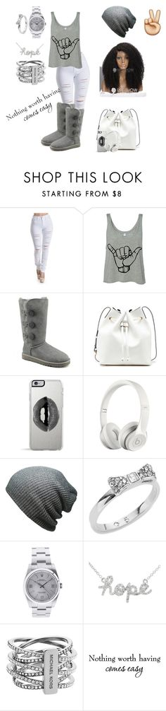 """""""Spread the peace✌️"""" by misfit4life13 ❤ liked on Polyvore featuring UGG Australia, Sole Society, Lipsy, Beats by Dr. Dre, Kate Spade, Rolex, Michael Kors, women's clothing, women's fashion and women"""