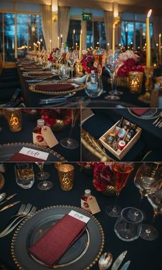Carlowrie Castle Winter Wedding - Navy blue, marsala, gold theme wedding tables and decor
