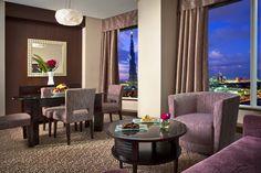 Sky Premium Suite Living Area. For reservations: Phone: +97143230111, Fax: +97143230222 E-mail: marketing.rose@rotana.com Web: http://www.rotana.com/roserayhaanbyrotana