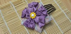 Hair Accessories Guide on Making a Violet Flower Hair Comb with Purple Ribbon