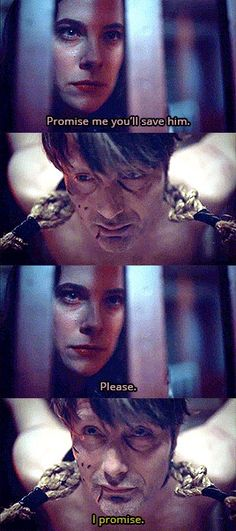 """… you cannot shake hands with the Devil and not get sulphur on your sleeve."" Asking a bound Hannibal to save the day, politely. Digestivo (S3E07)"