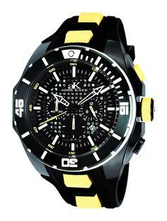 Adee Kaye Men's Grid Collection date chronograph IP Black Black yellow Band Black Dial