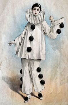 Use the costumes of stock characters such Pierrot, Harlequin, and Columbine as inspiration. Costumes, How to Do Keka❤❤❤ Pierrot Costume, Pierrot Clown, Circus Clown, Circus Theme, Circus Party, Clown Mignon, Stilt Costume, Harlequin Costume, Clown Paintings