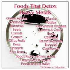 Foods That Detox Heavy Metals~We all have Mercury from our teeth fillings and aluminum and toxic contaminants from grocery foods, copper from immunizations and flu shots that cause nerves damage that Can be Removed.