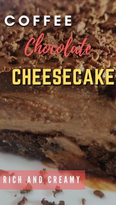 This is the creamiest chocolate coffee cheesecake and the best cheesecake recipe. This is an easy cheesecake recipe that is easily a homemade cheesecake. This comes under categories like best cheesecake, creamy cheesecake recipe. This is my goto cheesecake recipe whenever I have less time in my hands. #cheesecake #nobakecake #easycake #chocolate #coffee Creamy Cheesecake Recipe, Homemade Cheesecake, Easy Cheesecake Recipes, Easy Baking Recipes, Tart Recipes, Cupcake Recipes, Dessert Recipes, Coffee Cheesecake, Best Cheesecake