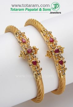 Totaram Jewelers: Buy 22 karat Gold jewelry & Diamond jewellery from India: 22 Karat Gold Kada with Uncut Diamonds & Rubies - 1 Pair