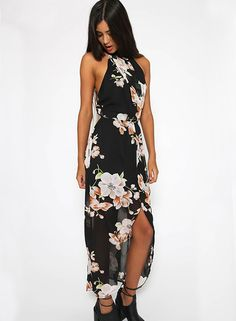 Enjoy a fun summer getaway by wearing this Floral Print Asymmetric Chiffon Dress. Be stunning and hot in this season.