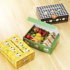panda bear checker disposable paper bento box sandwich box ♥ Bento