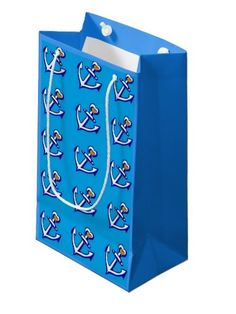 Blue Anchors Pattern Glossy Gift Bag; Abigail Davidson Art; ArtisanAbigail at Zazzle