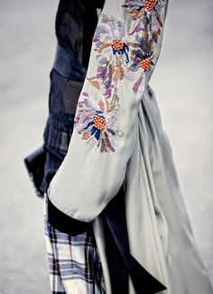 embroidered sleeves & plaid -- Dries Van Noten