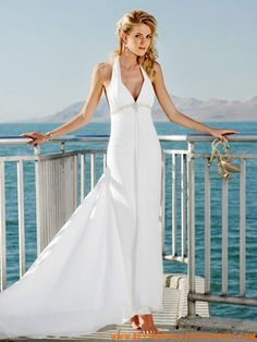 Cheap backless Customer Made Design V Neck Empire Waist beach Wedding Dress Celebrity Wedding Dresses, Wedding Dresses 2014, Cheap Wedding Dress, Bridal Dresses, Wedding Gowns, Girls Dresses, Formal Dresses, Backless Wedding, Pretty Flower Girl Dresses