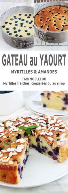 Encore un gâteau au yaourt hyper moelleux, aux myrtilles (ou bleuets) et amandes! Pot de yaourt (nature ou parfumé), myrtilles (fraîches, congelées ou au sirop), poudre d'amande et des amandes effilées. Une recette facile, un gâteau gourmand et trop bon!