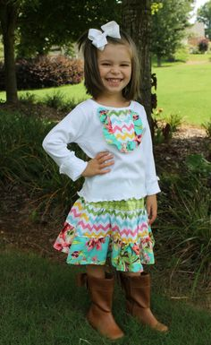 Perfect for back to school!  Ruffle Top and Twirl Skirt Set by goatandlulu on Etsy, $36.00