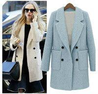 Wholesale Fashion Winter Coat Women Female Warm Woollen Long Sleeve Over coat Fashion Trench Wool Coats Black big size S XL long coat