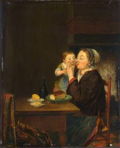 Mother and Child by Louis Bernard Coclers 1794. Detail: table, chair, table knife, plate, bowl, bread, butter, glass bottle, cork , glass tumbler, jewellery, ring, earring, necklace, child, hearth, trammel hook. Louis Bernard Coclers (1741–1817) from the Rijksmuseum Amsterdam.