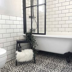 Our Hampton Black Feature Tiles are made of durable porcelain and have a geometric pattern design, order your full size sample today. Bathroom With Shower And Bath, Bath Shower Screens, Shower Over Bath, Downstairs Bathroom, Metro Tiles Bathroom, White Bathroom Tiles, Bathroom Floor Tiles, Bathroom Interior, Bathroom Tiles Combination