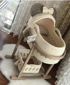 Baby Knitting Patterns, Crochet Basket Pattern, Crochet Patterns, Baby Moses, Baby Baskets, Baby Cocoon, Baby Bassinet, Moses Basket, Baby Crafts