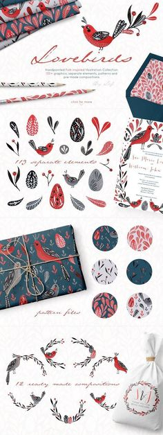 Lovebirds handpainted graphics set - Illustrations