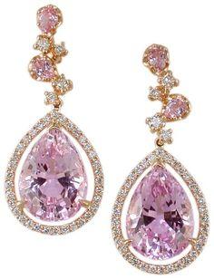 18KR Kunzite and Diamond Earrings: Judy Mayfield: Jewelry