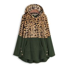 Leopard Color Block Button Side Teddy Bear Sweatshirt Hoodie 39.99 CAD Hooded Sweatshirts, Hoodies, Tunic Shirt, Clothes For Women, Chilly Weather, Kangaroo, Hue, Pocket, Winter