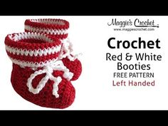 Red & White Bootie Free Crochet Pattern - Left Handed - YouTube