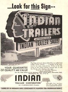 1947 Indian Trailer print ad Great vintage Neon sign shown on Etsy, $8.00