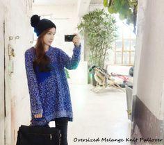 Oversized Melange Knit Pullover