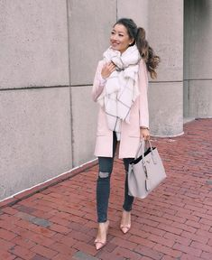 Fall Hues: soft pink jacket + cream blanket scarf