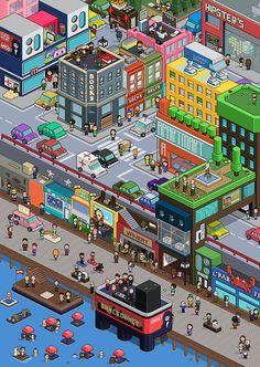 Pixel Art City on Behance
