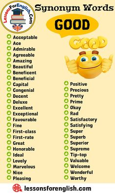 Synonym Words – Good, English Vocabulary Acceptable Ace Admirable Agreeable Amazing Beautiful Beneficent Beneficial Capital Congenial Decent Deluxe Excellent Exceptional Favourable Fine First-class First-rate Great Honorable Ideal Lovely Marvelous Nice Pleasing Positive Precious Pretty Prime Okay Rad Satisfactory Satisfying Super Superb Superior Supreme Tip-top Valuable Welcome Wonderful Worthy English Writing Skills, Learn English Grammar, English Vocabulary Words, Learn English Words, English Phrases, English Language Learning, English Study, English Lessons, The Words