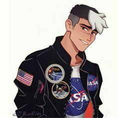 Shiro in his space themed black leather jacket from Voltron Legendary Defender