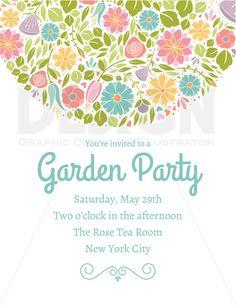 Spring Flower Wedding Party Invitation Clipart, Digital Borders, Digital Frame Clip Art, Commercial Use, Digital Download, Vector Graphics
