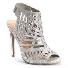 Get your style in step with these women's Candie's heels. I Love My Shoes, Funky Shoes, Silver Shoes Heels, Silver Outfits, Caged Heels, Dress And Heels, Shoe Closet, Women's Pumps, Heeled Mules
