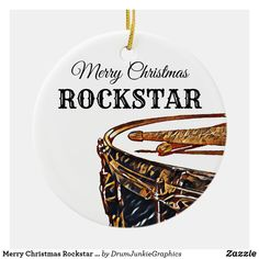 Wish your favorite ROCKSTAR a Merry Christmas with this beautiful drum ornament featuring a snare drum and drum sticks. Check out www.drumjunkiegraphics.com for more great drummer merch and musician gifts - all designed by a drummer! #drummerchristmas #musicianchristmas #snaredrum #drumsticks #rockstar #drumjunkie