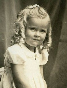 Most Adorable Little Girl w Blond Ringlet Curls Vintage Photo