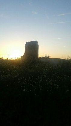 Puesta de sol tras la torre