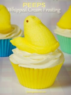 Whipped Cream Frosting made with marshmallow Peeps. What a great Easter dessert topping!