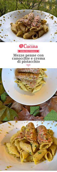 Mezze penne con canocchie e crema di pistacchio della nostra utente Francesca. Unisciti alla nostra Community ed invia le tue ricette!