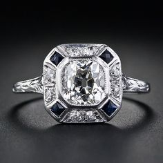 Art Deco 1920's diamond with french cut sapphires