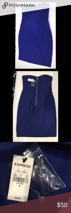 """DEAL OF THE DAY Strapless dress by Express✨ DEAL OF THE DAY Royal blue. Brand new with tags attached. Fashion Star for Express is the label. Optional straps are included. 26.5"""" from top to hem. STOCK IMAGE JUST FOR SHOW. Express Dresses Mini"""