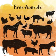 Farm animals silhouettes Free Vector