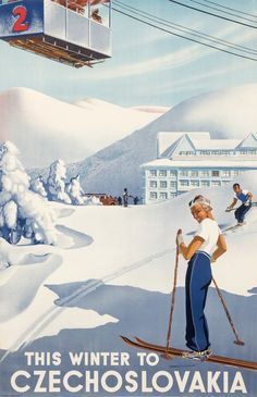 This Winter to Czechoslovakia, 1930 ca.   One of the most sought-after collectibles today, ski posters capture the joy of fresh mountain air and the exhilaration of a downhill run through tree-lined glades. Combining travel, sports, and fashion, the ski and other wintersport posters have become a blue-chip category around the world over the last fifteen years. Learn more at http://www.internationalposter.com/about-poster-art/subject-primers/ski-posters.aspx