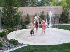 backyard splash pad! No up keep. Small footprint. Cheaper than a pool. Safer than a pool. Awesome. In the winter put a fire pit and chairs on it