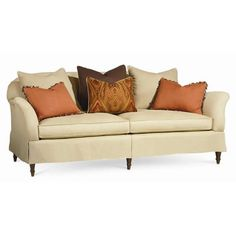 Pillow Fight Sofa  87.75W x 43D x 35.25H  Seat Height: 21  Arm Height: 28.5  Loose Pillow Back  Ultraplush Down Cushion  8-Way Hand Tie Seat Frame  Feather Down Pillows