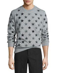 Allover Star-Embroidered Sweatshirt, Gray