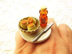 Kawaii Food Ring Breakfast Scone Honey