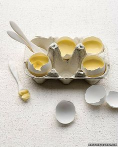 easter food vanilla custard ... or anything else...served in eggshells