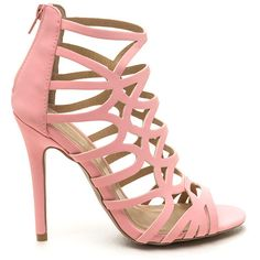 PINK Ahead Of The Curves Cut-Out Caged Heels ($23) ❤ liked on Polyvore featuring shoes, pumps, heels, pink, pink shoes, open-toe pumps, heels stilettos, pink stiletto pumps and stiletto shoes