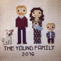 I loved making this cute family! The dress was a lot of fun to make with the different colors and pattern #hoopart #crossstitch #crossstitching #xstitch #familyportrait